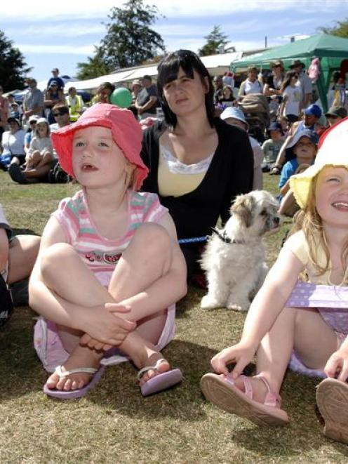 Watching the entertainment at a family event in Mosgiel at the weekend are (from left): Josh...