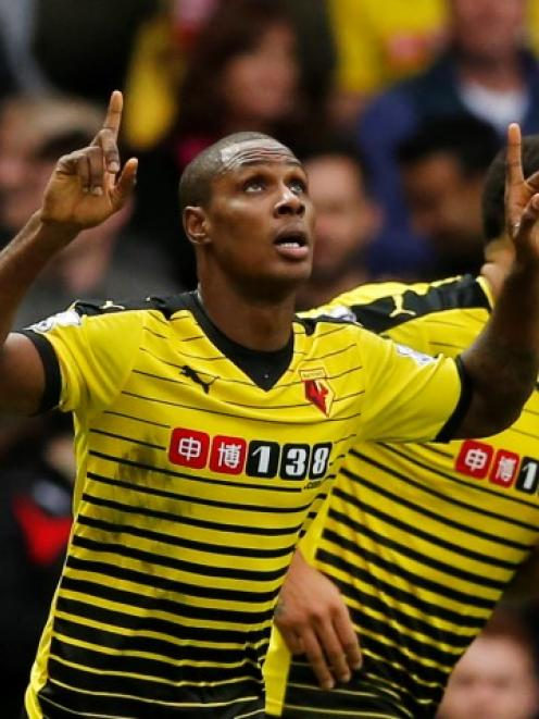 Watford's Odion Ighalo celebrates scoring his side's third goal against Liverpool. Photo Reuters