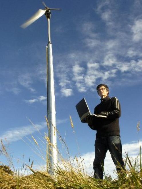 Wayne O'Hara, of Powerhouse Wind Ltd, tests a prototype of a wind turbine developed in Dunedin....