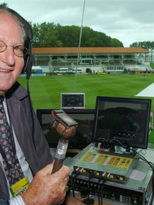 West Indies broadcaster Tony Cozier waits - in vain - for the weather to clear at the University...