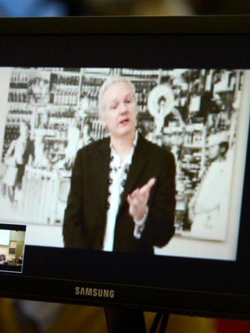 WikiLeaks founder Julian Assange, speaking during a teleconference from Ecuador's embassy in...