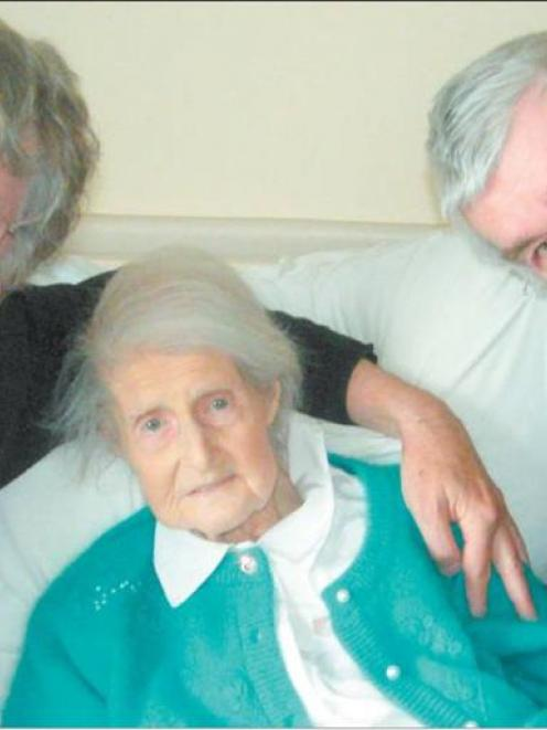 Windsor Park rest-home resident Molly Hobcraft with sons Brian (left) and Michael Hobcraft...