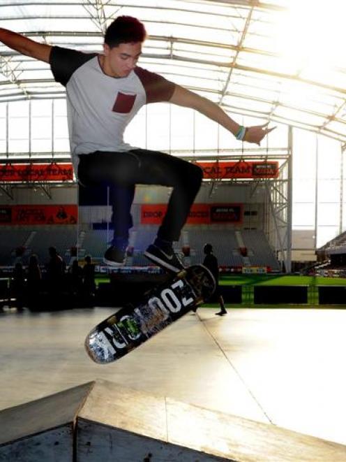 Wiremu Ratapu (15), of Dunedin, skates at the Youth Week Skate Jam at Forsyth Barr Stadium on...