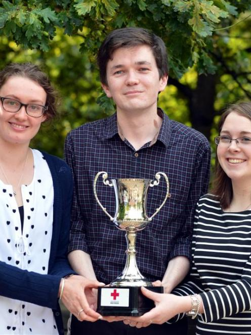 With their New Zealand Red Cross law moot competition trophy at the University of Otago this week...