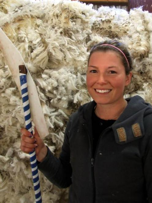 Wool-handling newcomer Nicole Amery takes part in a Tectra fine wool handling course at Kurow...