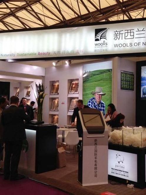 Wools of New Zealand's site at the recent Domotex Asia flooring trade show in Shanghai. Photo...