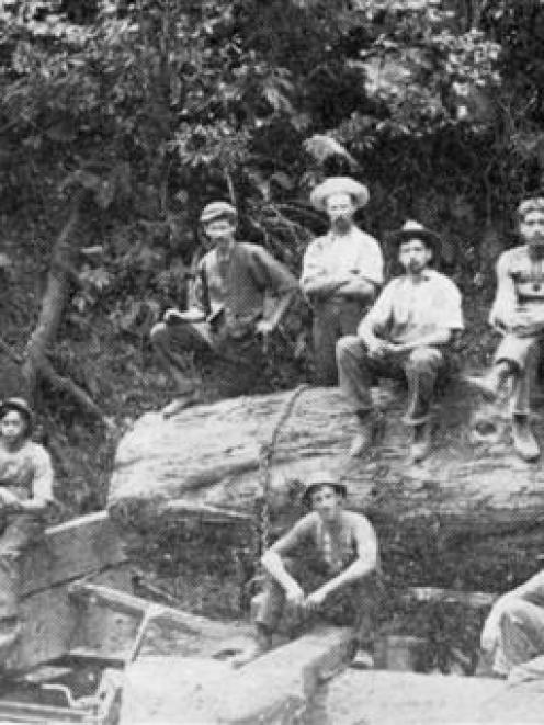 Workers in the bush: a group at a loading bank in the King Country. - <i>Otago Witness</i>, 19.7...
