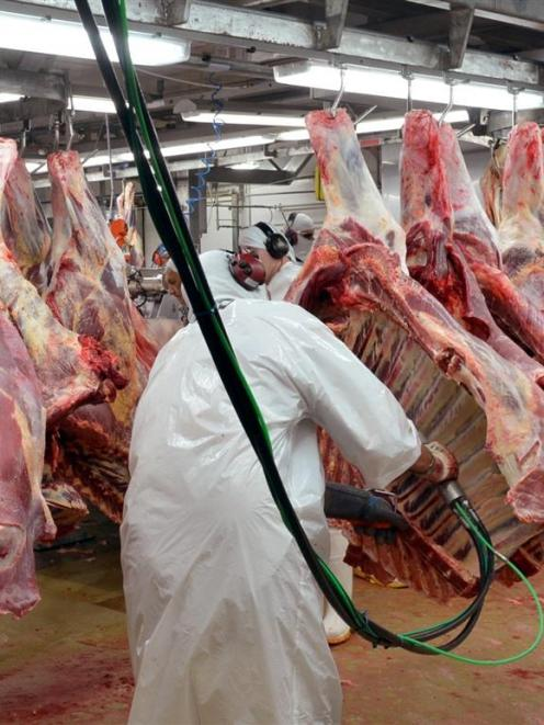 Workers process beef carcasses at Finegand freezing works. Photo by Stephen Jaquiery.