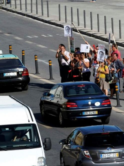 Workers protest against austerity in front of the finance ministry after Portugal's Finance...