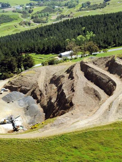 Workings at the Saddle Hill quarry are visible in this aerial photograph taken last week. Photo...