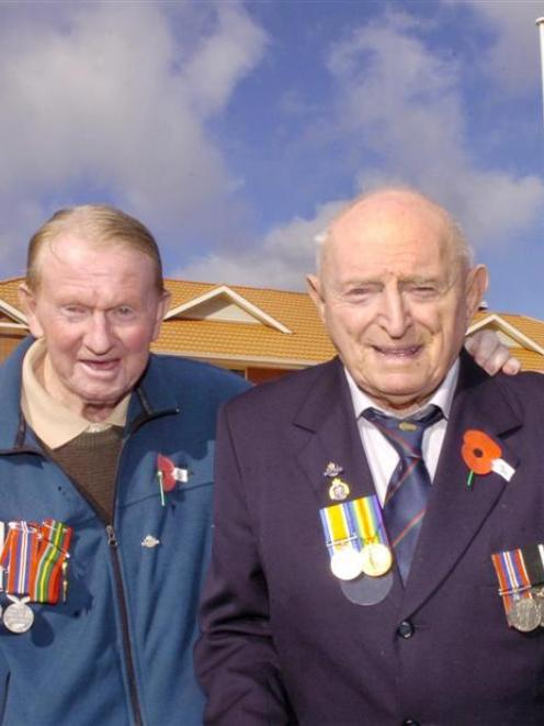 World War 2 buddies Ralph Caradus (83) and Phil Smith (86) reminisce over old times following the...