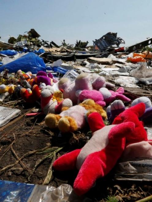 Wreckage debris and mementos left by local residents lie at the crash site of Malaysia Airlines...