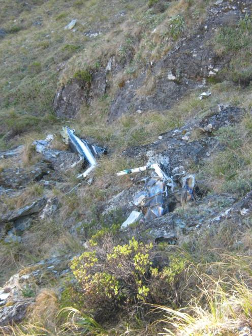 Wreckage from the Hughes 500 which crashed in the Humboldt Creek area of Fiordland 2004. Photo...