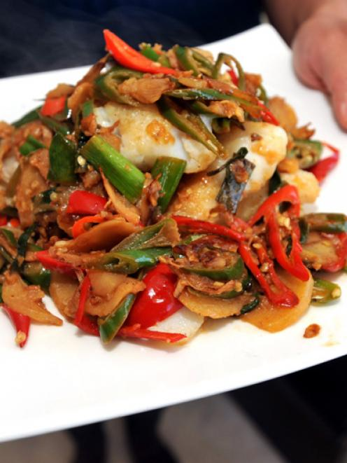 Xiaoyan's fish fillets in sour quince and chilli sauce. Photos by Gregor Richardson.