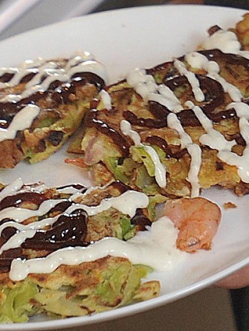Yoko's okonomiyaki. Photos by Christine O'Connor.