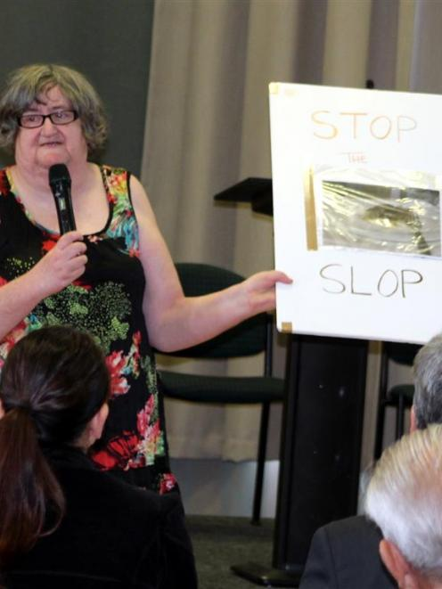 Mary Campbell, of Invercargill, speaks at the  hospital food protest meeting in Invercargill on...