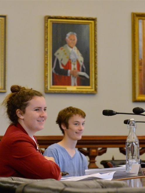 Under the gaze of former Dunedin mayors T.K.S. Sidey, Russell Calvert and Sir James Barnes,...