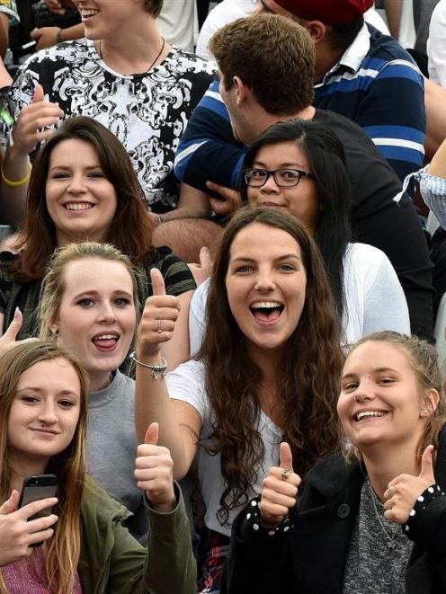 University of Otago first-year students at the official welcome to the city at Forsyth Barr...