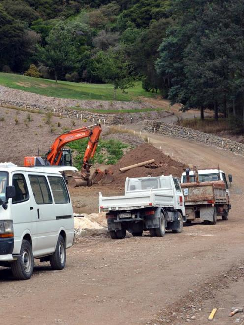Work continues at the entrance to the Three Hills subdivision in Leith Valley, Dunedin. Photo by...