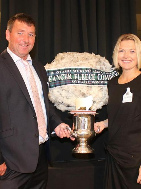Bevan and Tiffany McKnight with their award-winning fleece in the Child Cancer Foundation fleece...