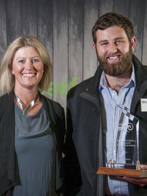 Ballance Agri-Nutrients director Sarah von Dadelszen congratulates Will Gibson at the Beef + Lamb...