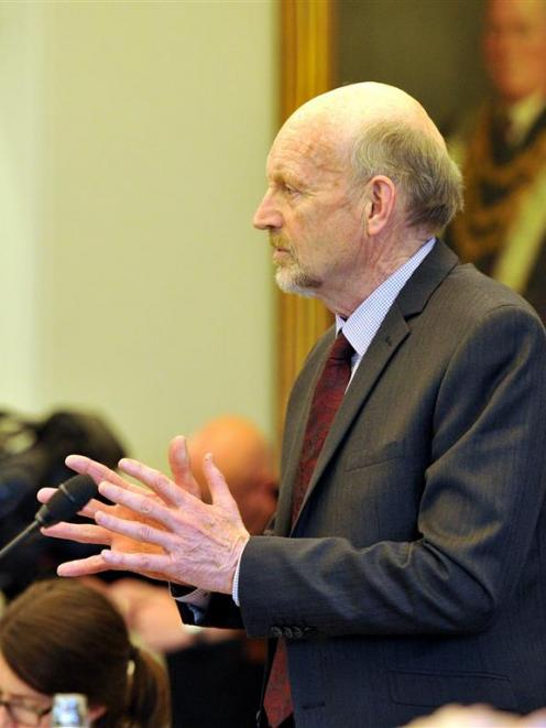 Cr Neville Peat  speaks at a Dunedin City Council meeting in 2014. Photo by Gregor Richardson.
