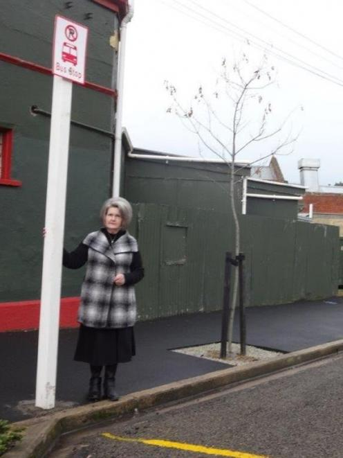The new bus stop in Sanday St. Palmerston business owner Marilyn Muir (pictured) wants  buses to...