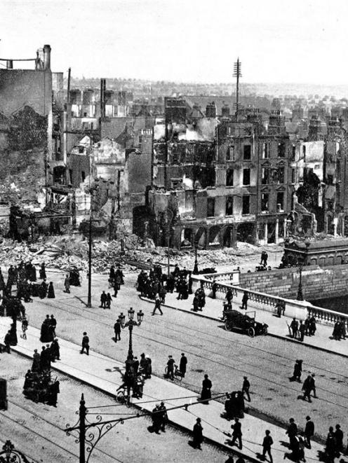 The Sinn Fein revolt in Ireland: A view of the city of Dublin, showing the ruins of the buildings...