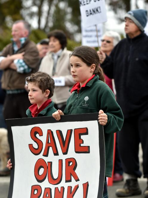 Ella Gibson (10) and her brother Ben (6) were among several school pupils protesting the proposed...