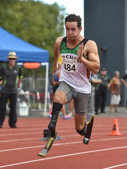 Liam Malone, from Tasman, winds up after launching out of the blocks in the 400m race in March at...