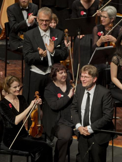 Prof  Ritchie acknowledges the sustained applause from the audience after the world premiere of...