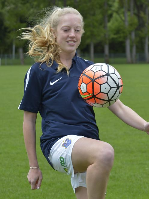 Southern United women's midfielder Holly Johnstone (18) at Football South headquarters yesterday...
