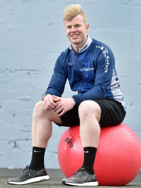 Otago Polytechnic student and Dunedin personal trainer Matt Mckay has won the up-and-coming personal trainer of the year award at the New Zealand Exercise Industry awards. Photo by Peter McIntosh.