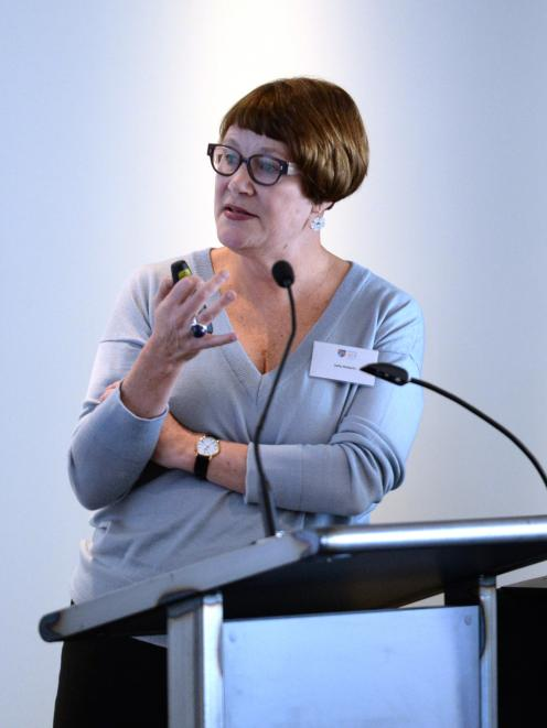Sally Roberts, of Auckland, discusses ways to reduce the spread of infections in hospitals. Photo...