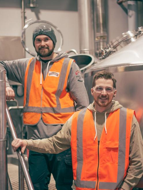 Home brewer Max Major and Mason Pratt from Emerson's put down 200 litres of Wild Gose Chase in September. Photo supplied.
