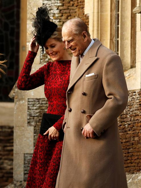 Prince Philip  leave the Christmas Day church service in Sandringham  with Sophie, Countess of...