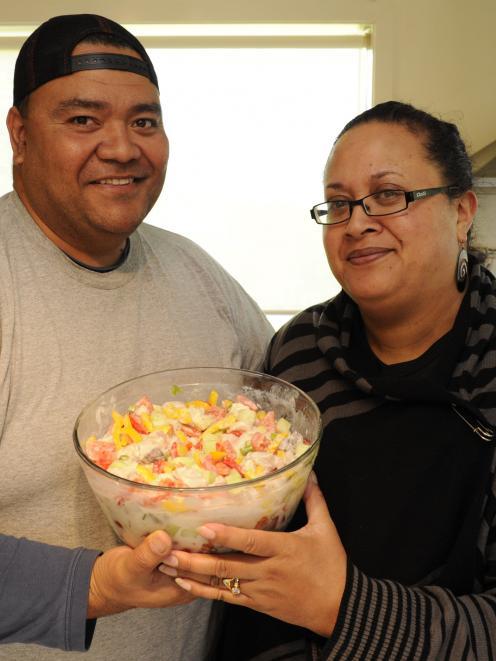 Matani Schaaf and Michelle Schaaf with 'ota ika, raw fish. Photo:Gerard O'Brien.