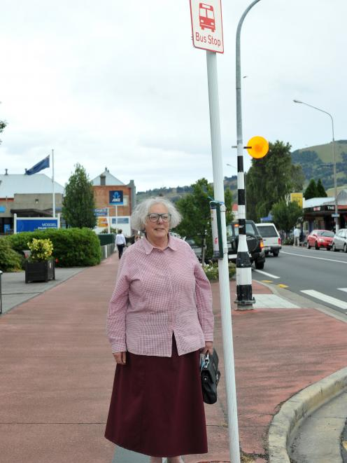 Lynne Hill, of Mosgiel is concerned about bus-stop changes for Mosgiel residents. Photo: Christine O'Connor