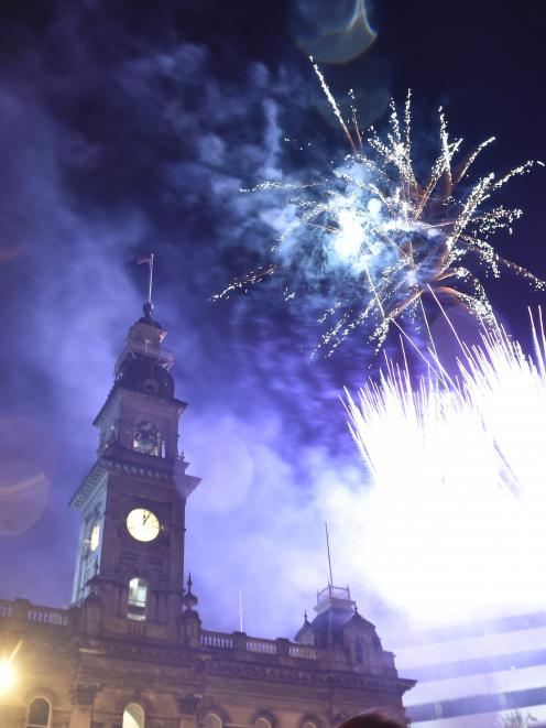 Fireworks explode above the Octagon to mark the start of 2017. Photo: Peter McIntosh.