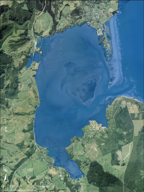 A simulation of sea-level rise at Blueskin Bay by Jonathan Musther using Otago Regional Council...
