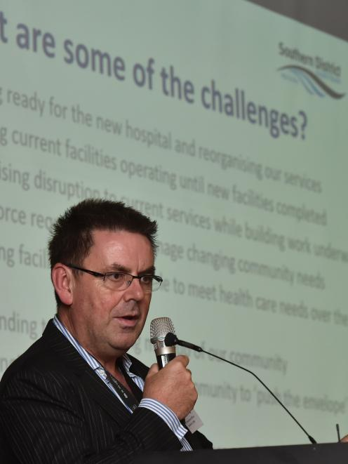 Southern District Health Board chief executive  Chris  Fleming speaks at a meeting about the...
