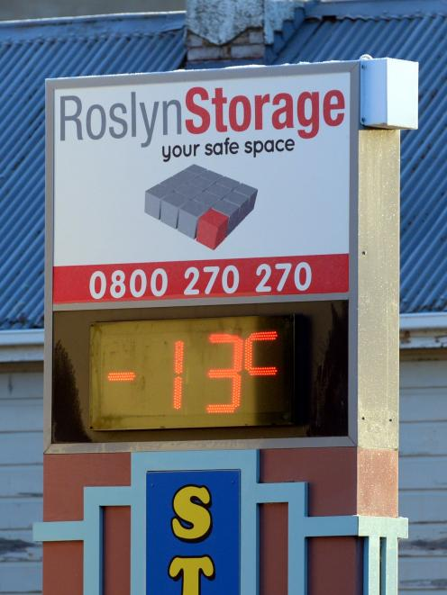 The Roslyn Storage thermometer in North Rd , Dunedin. Photo: ODT.
