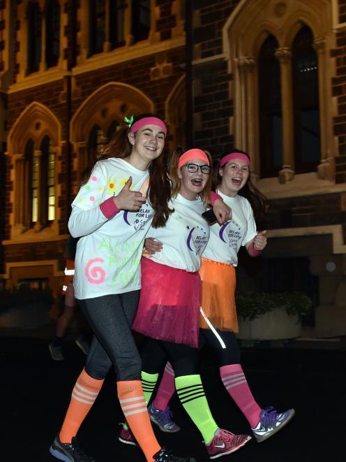 University of Otago students (from left) Lauren Dragovich, of Christchurch, Ellie McDonald, of...