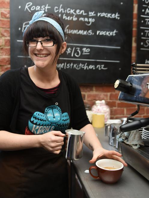 Emma Wogan (27) is the head barista at Vogel St Kitchen in Dunedin. Originally from Christchurch, she has been living in Dunedin for three years. Photo: Gregor Richardson