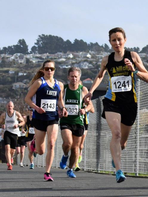 Shireen Crumpton (Hill City-University) and Sharon Lequeux (Leith) power their way through the...