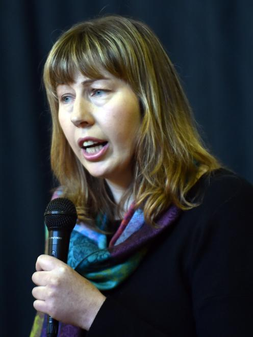 Oamaru veterinarian Merlyn Hay speaks during a community meeting at Papakaio to discuss the Mycoplasma bovis outbreak in South Canterbury. Photo: Peter McIntosh