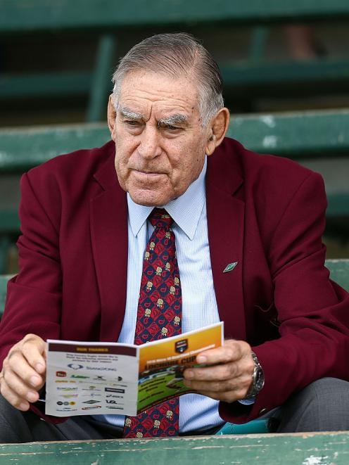 Sir Colin Meads attends the Lochore Cup final between King Country and North Otago in Te Kuiti in...