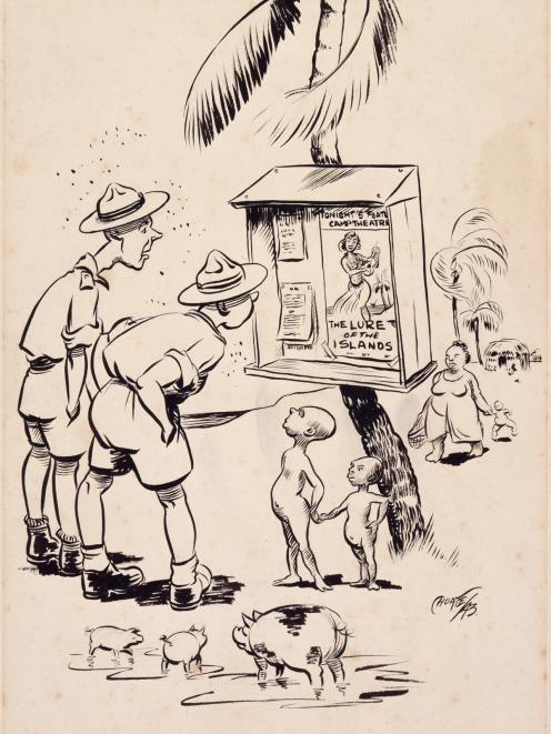 F. D. Choate's 1943 pen-and-ink cartoon Lure of the islands satirised many people's idea of the Pacific War. Photo: Archives NZ, AAAC 898 NCWA 280