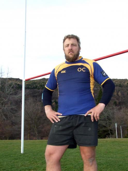 Otago Country rugby player Aidan Winter at his home Arrowtown ground last week. Photo: Guy Williams.