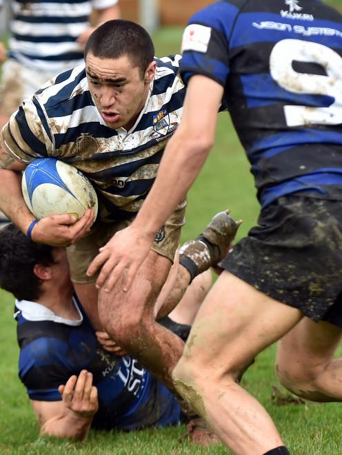 Otago Boys' High School first XV flanker Taine Te Whata on the charge against Timaru Boys' High...